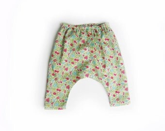 baby girl Liberty pants, kids harem trousers, girls floral harems (Liberty of London little leaf), 3m, 6m, 12m, 18m, 2T