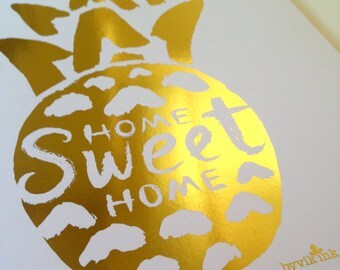 Pineapple Home Print - Gold Foil