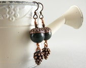 Hunter Green Stone Acorn and Copper Pinecone Earrings with Free USA Shipping