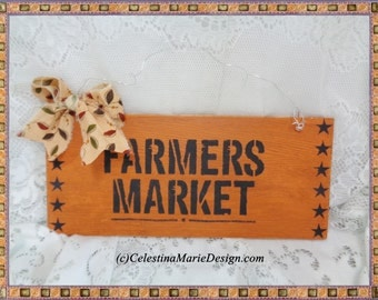 Farmers Market Wood Sign, Wall Hanging, Hand Painted, Stenciled, Farmhouse Decorating, Fall Decor, ECS