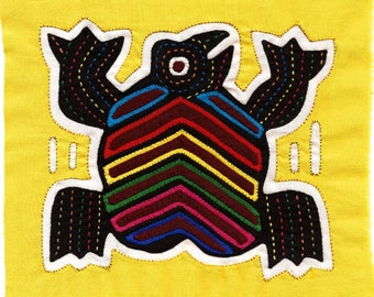 90's Fabulous Fat Frog Mola - Hand Sewn Kuna Indian Applique