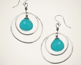 sterling silver hoop earrings with gemstone teardrop, orbit