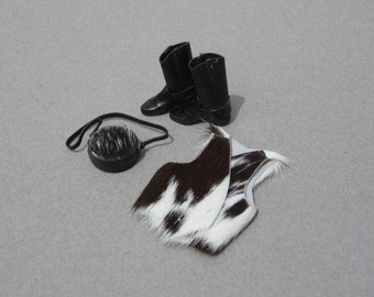Cowboy Western Calf Hair Vest Canteen Dollhouse Leather Boots 1:12 Scale Miniatures 1990s Vintage