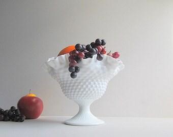 Vintage Milk Glass Hobnail Bowl, Large Fenton Bowl, Milk Glass Hobnail Pedestal Bowl, Wedding Centerpiece, Fruit Bowl, Footed Bowl