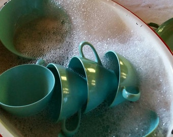 Robins Egg Blue Melamine Paisely Plates Cups Saucers Sugar Cream 24 pcs
