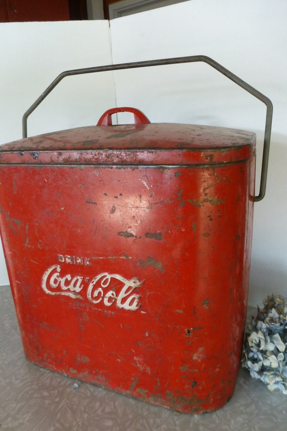 Vintage coca cola cooler drink coke raised letters picnic ice for 1 door retro coke cooler