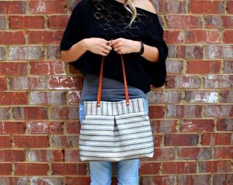 Genuine Leather Straps / Ticking Blue Stripe Fabric Handbag