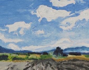 "Art Small Miniature Oil Painting ACEO 2.5"" x 3.5"" Original Trading Card  Impressionist Landscape Sky Cloud Quebec Canada Founier no2015-2"