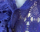 Hand Dyed Lavender Cotton Crochet Recycled Scarf