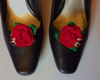 Crocheted Red Rose shoe Clips with Beads