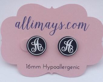 Custom Monogram Earrings 16mm Hypoallergenic