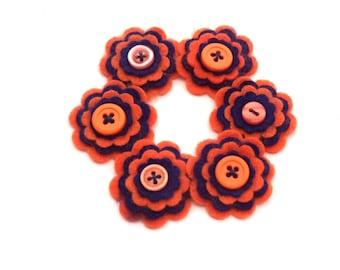 Orange and Navy Blue Felt Flowers, Felt Embellishments, Scrapbook Supply, Card Making Supply, Headband Supplies