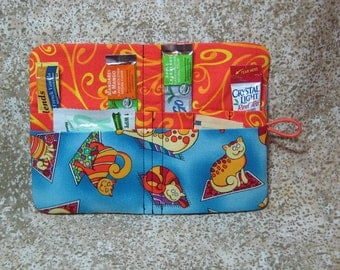 Tea Condiment Wallet Cats on Rugs for Drink Mixes Tea Bag Blue Orange Red Yellow