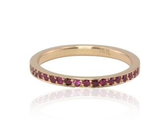 Ruby Ring, Genuine Ruby 14kt Rose Gold Mother's Ring - July Birthstone Ring for Mom - LS2887