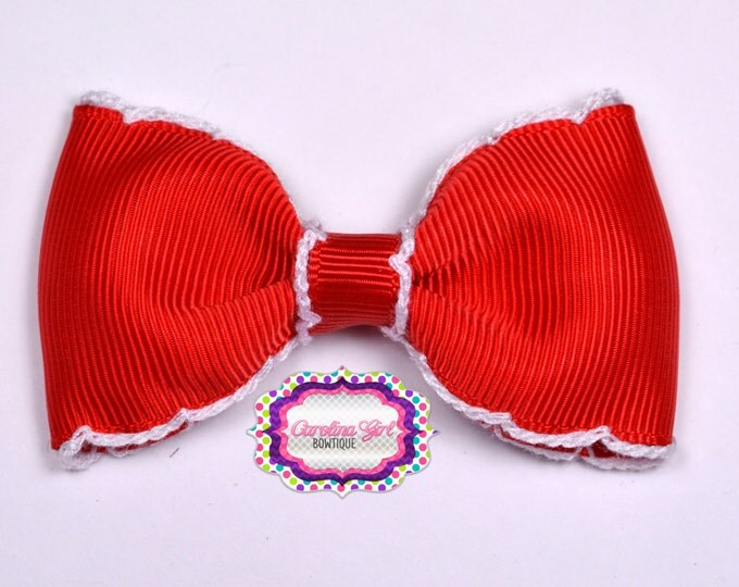 "Red w/ White Stitching 3"" Hair Bow Tuxedo Bow Simple Bow Boutique Bow for Babies Toddlers Girls Hair Bows"