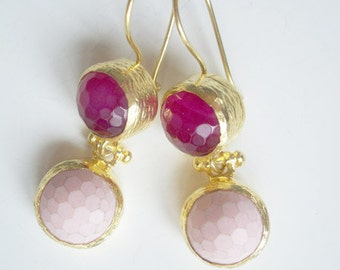 Gold plated SILVER Pink colored agate double Earring