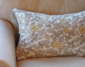 Linen and Silk Pillows, Bedding, Sepia and Floral