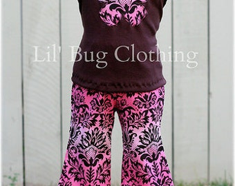 Custom Boutique Girl Cocoa Pink Damask Fall Peasant Top And Pant Outfit