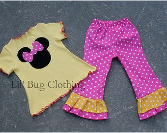 Custom Boutique Clothing Disney Minnie Mouse Yellow Knit Top and Pink White Polka Dot Pant Girl
