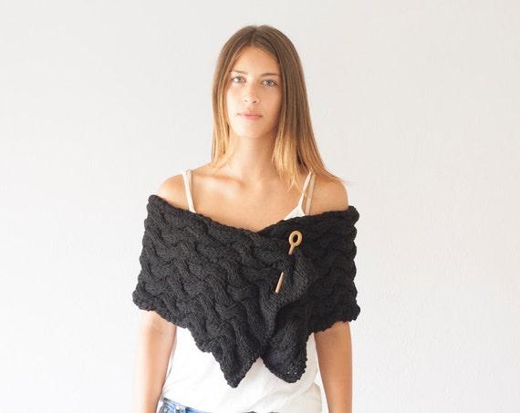 Black knit Shoulder Wrap neck warmer button scarf long scarf cowl neck warmer womens scarf