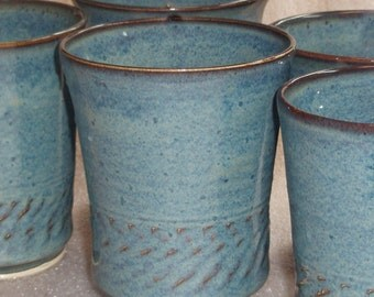 Blue Pottery Tumblers Wheel Thrown and Chattered Texture