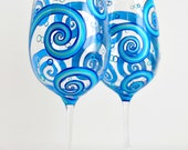 Painted Wine Glasses - Ocean Waves Toasting Glasses - Personalized Beach Wedding Wine Glasses