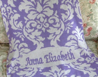 Personalized Knit Damask Baby Blanket