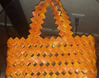 Candy wrapper handbag in orange