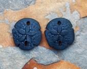 2 Black Small Sand Dollar Cultured Sea Glass Beads 21x19mm