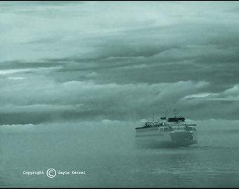 Cyan Monotone Ferry Fog Sea Photograph--Ferry in Fog--Fine Art