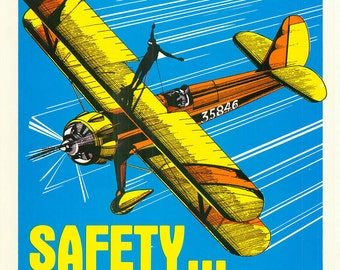 Vintage Work Safety Poster Sears Workplace Safety Isn't Luck Airplane Wing Walker