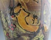 Tall  art pottery vase with cedar waxwing birds wheel thrown