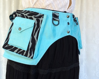 Pale blue ultrasuede utility belt - fandom con utility belt - zebra stripes fanny pack - steampunk fanny pack pocket belt - Extra Small