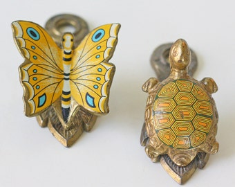 Vintage Clips - Butterfly and Turtle