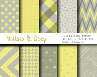 Yellow and Grey Digital Papers, Gray and Yellow Background Papers, 12 x 12 - Digital Scrapbooking - Instant Download