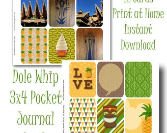 Disney Dole Whip Journal Cards - 3x4 Pocket Cards - Print at Home - Disney Scrapbooking - Tiki Room - Instant Download