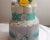 Gray and Teal 2 Tier Diaper Cake