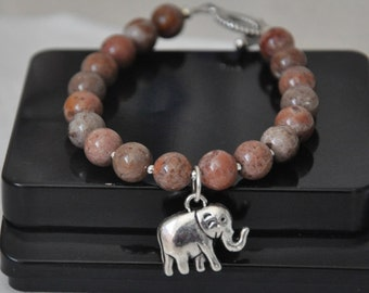 Elephant Bracelet, Gemstone Bracelet, Charm Bracelet, Jasper stones, Good Luck Jewelry, Good Luck Charm, Yoga Bracelet, Elephant Charm
