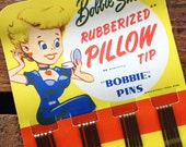 Vintage 1950's Bobbie Smith Rubberized Pillow Tip Bobby Pins - Original Packaging