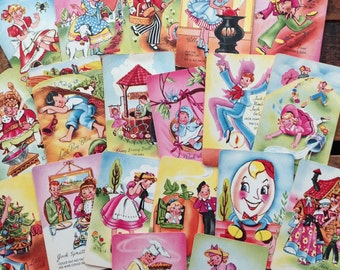 Vintage Old Maid Nursery Rhyme Cards - Set of 19 - Mother Goose Edition