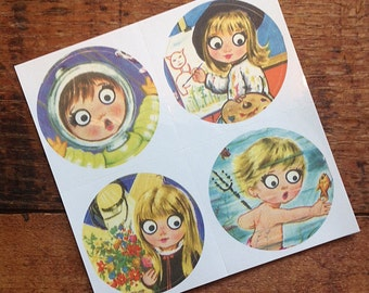 Vintage Inspired Sticker Sheet - Big Eyed Children