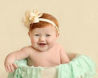 Ivory Baby Headband Double Layered Ivory Headband Off White Headband Cream Headband Christening Headband Baptism Headband