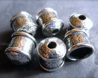 Solid sterling silver Large Hammered Bullet End Caps - 9mm hole - 12mm X 12mm
