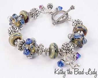 Lampwork Bracelet - Lampwork Bali Silver Bead Bracelet - KTBL