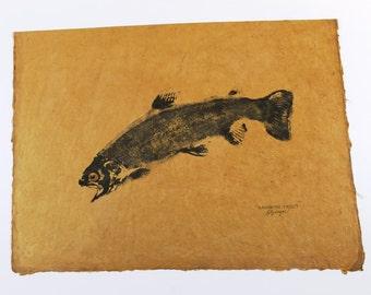 Rainbow Trout ORIGINAL GYOTAKU Fish Rubbing Lake House Decor 14 X 20 on hand made Parchment Paper