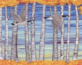 Canada geese, hedgehogs, and autumn birch trees - illustration art print 8X10 inches, fall autumn gray blue orange yellow nature picture
