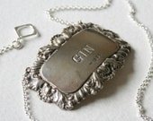 Gin Charm Necklace Mother's Ruin Sterling Silver Vintage Decanter Label 1973