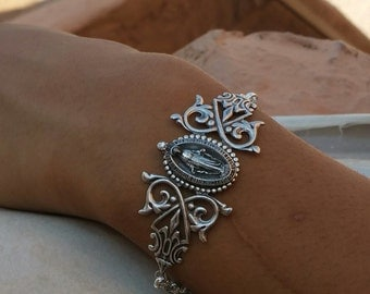 Silver Filigree Religious  Cuff Bracelet