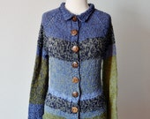 Clearance Sale! Prim Patchwork Hand Knit Sweater - Women's Hand Knit One of a Kind Sweater in Blues and Greens. Cotton, Merino, Tencel.