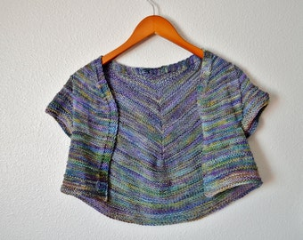 Women's Cardigan Cropped Short Sleeve Open Front Blue with Pastel Highlights Teasel Bolero Shrug Hand Knit in Soft Handdyed Superwash Wool
